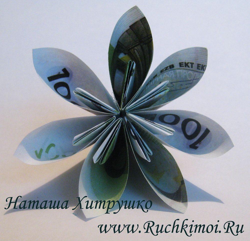 Как сделать цветы из денег по фото