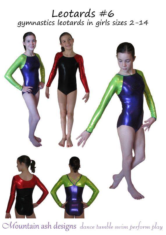 Leotards 6 pdf sewing pattern gymnastics leotards long sleeve ...