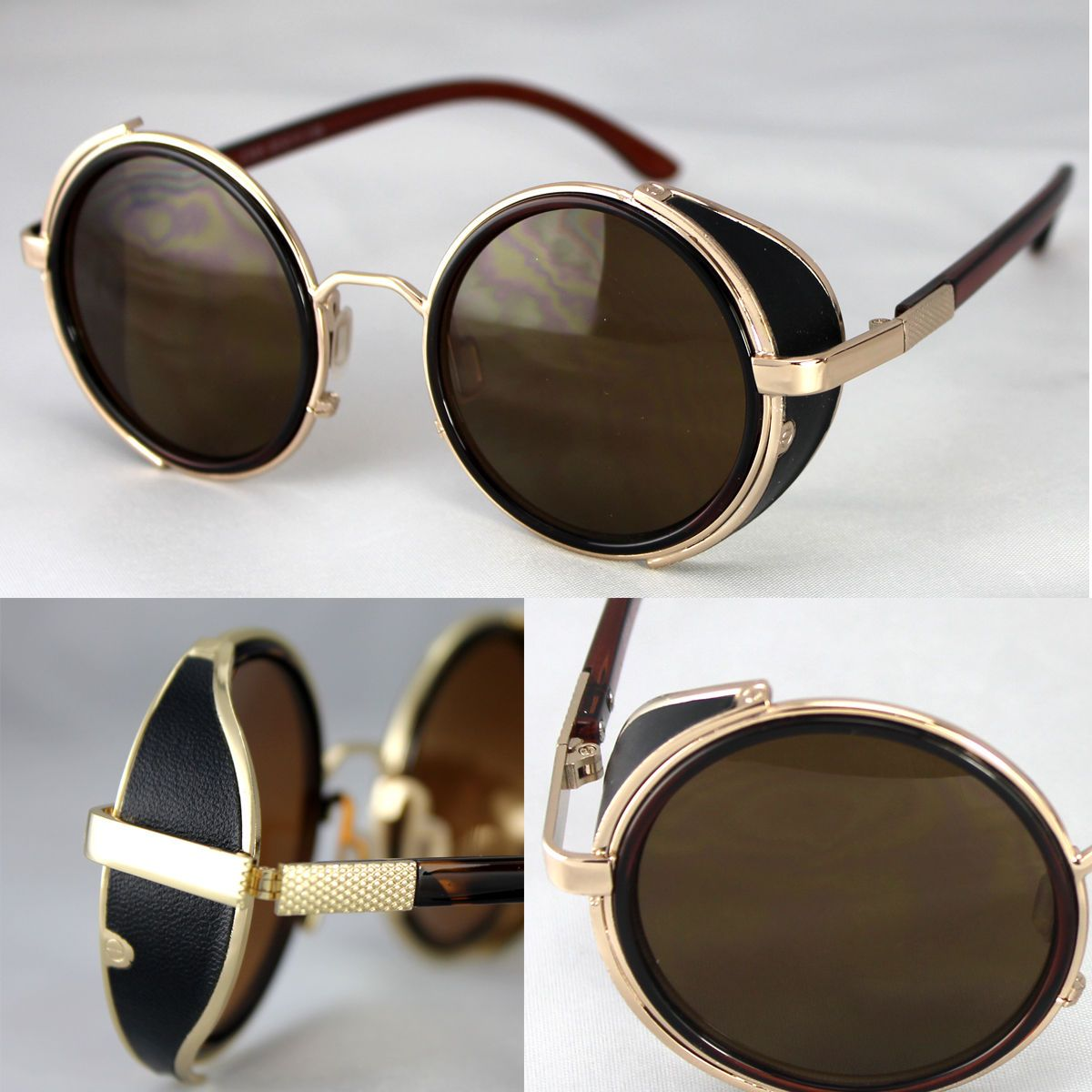 Gold Flip up Circle Steampunk Glasses Goggles Cyber Round Sunglasses UK Black