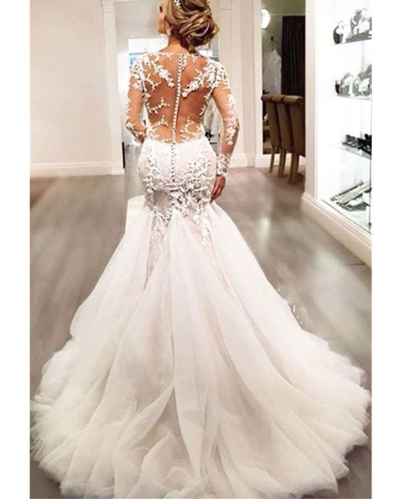 Empire waist gown lace mermaid chapel train long lace sleeve wedding