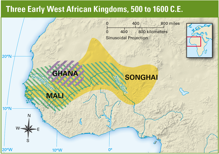 of the major north African kingdoms grew up in this area: Ghana