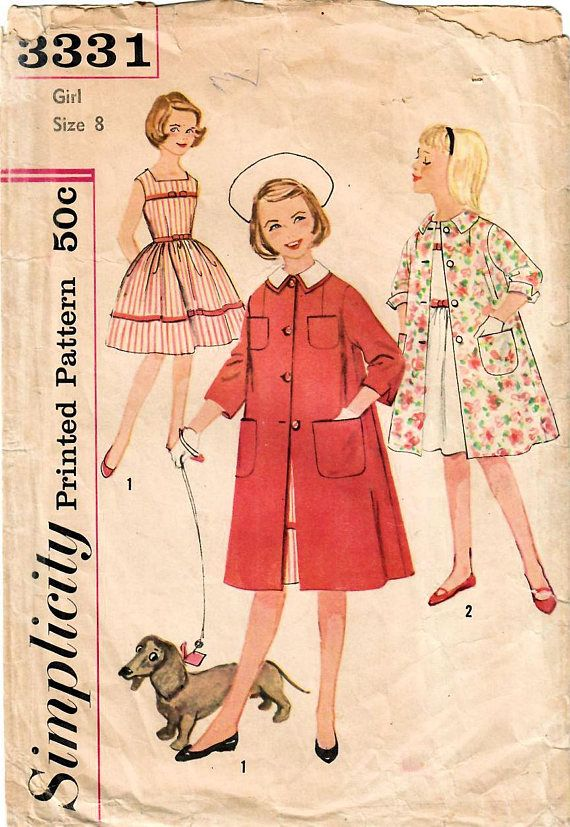 1960s Simplicity 3331 Vintage Sewing Pattern Girls Sleeveless ...