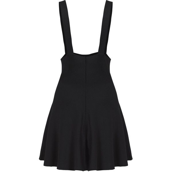 SheIn(sheinside) Strap Suiting Buttons Flare Suspenders Black Skirt (35.580 COP) ❤ liked on Polyvore featuring skirts, dresses, bottoms, black, overalls, button skirt, short a line skirt, knee length flared skirts, flare short skirt and a line skirt