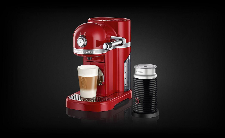Nespresso Kitchenaid Empire Red Coffee Machine Milk Frother