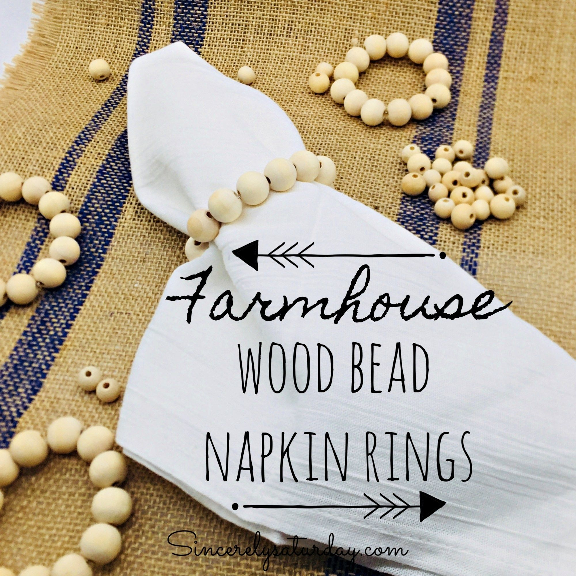 FARMHOUSE STYLE WOOD BEAD NAPKIN RINGS | Sincerely Saturday