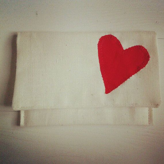 Cute linen with cotton applique heart by elenatoledocreations, $8.00