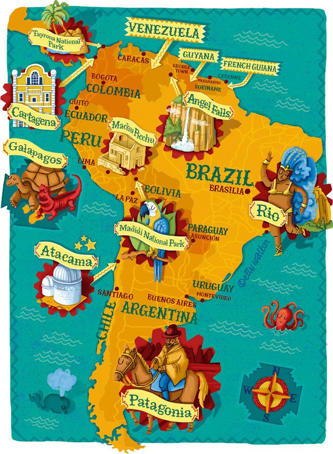 Award Winning Illustrator Of Maps Hand Lettering And Quirky Figures For Books Magazine Advertising An South America Map Illustrated Map South America Travel