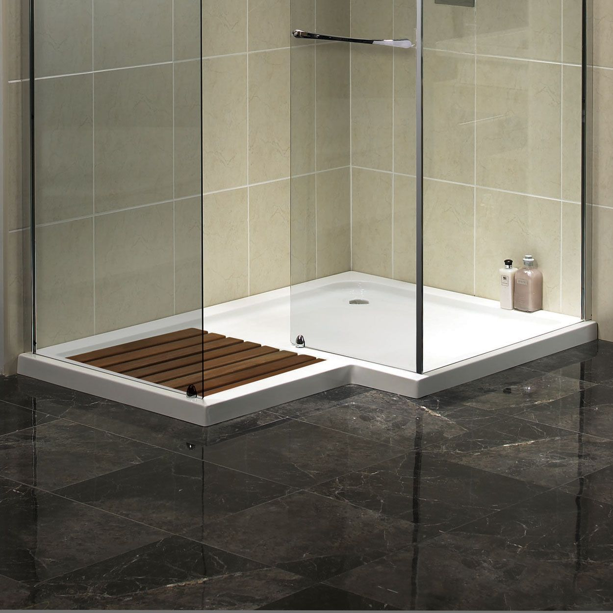Aqualux AquaSpace Square Walk-In Shower Tray, 1500mm x 1000mm Wide ...