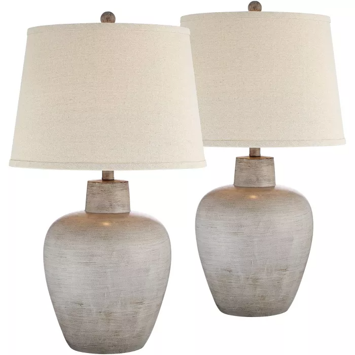 Regency Hill Rustic Country Cottage Table Lamps Set Of 2 Southwest Urn Neutral Fabric Drum Shade Living Room Bedroom Nightstand Bedroom Night Stands Cottage Table Table Lamp Sets