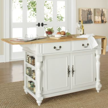 Drop Leaf Kitchen Island Portable With Butcher Block Top Traditional