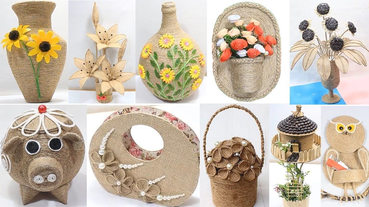 10 Jute Craft Decoration Design Collection Jute Craft Ideas Youtube Jute Crafts Twine Crafts Rope Crafts