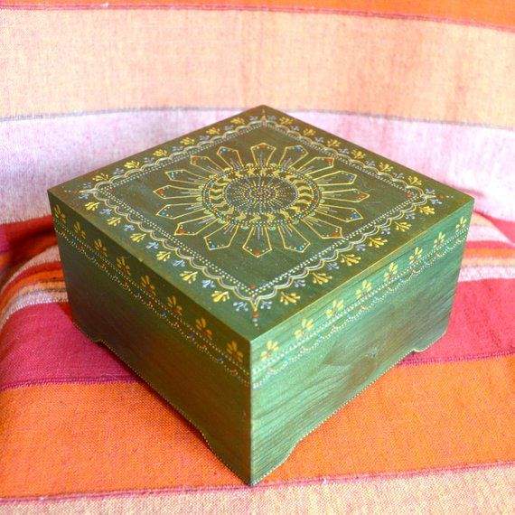 Multi Functional Square Storage Box Painted In Oriental