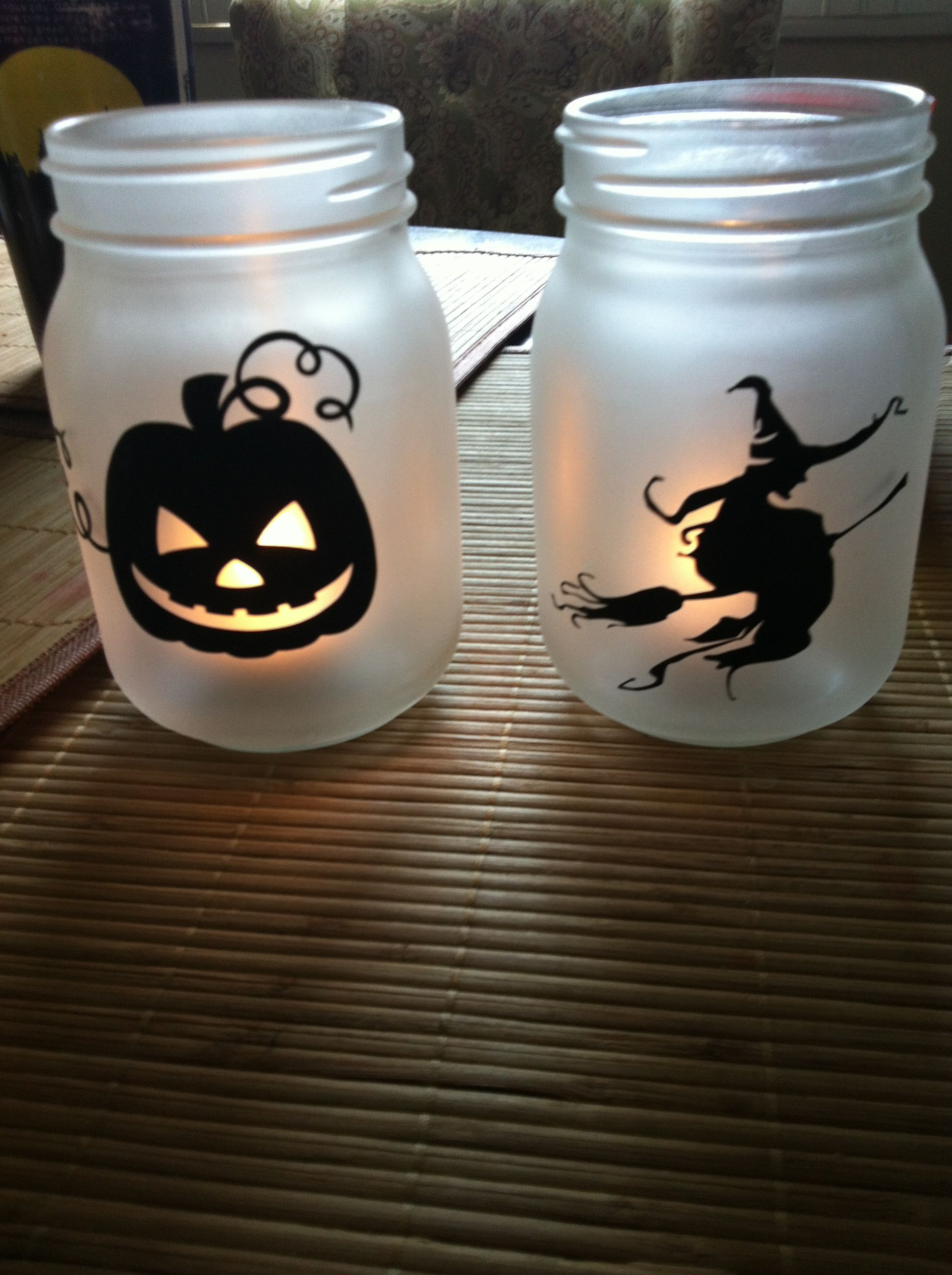 Frosted mason jars with vinyl halloween cut out with my silhouette