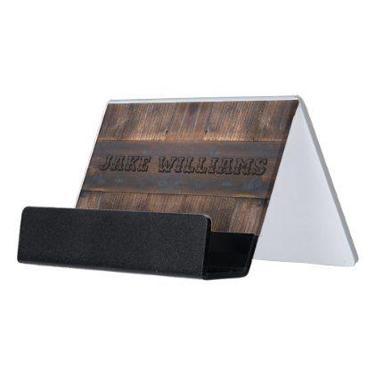 Barber shop card holder rustic wood look desk business card holder barber shop card holder rustic wood look desk business card holder rustic gifts ideas customize colourmoves