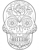 Calavera De Azúcar Con Flores Dibujo Para Colorear Dia De Muertos