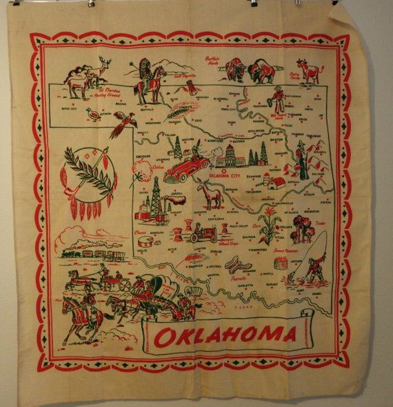 Vintage Oklahoma State Map Tablecloth by LilliaMeadow on Etsy