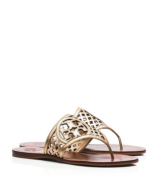 d5100f05fa498e THATCHED PERFORATED METALLIC THONG SANDAL