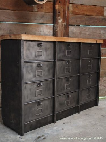 Ancien grand meuble 12 casiers industriel strafor plateau chene - Moderniser Un Meuble Ancien