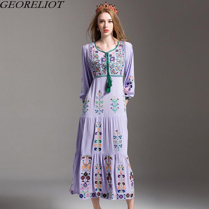 c294064705a High Quality Bohemian Dress 2017 New Summer Fashion Women Vintage Floral  Embroidery Long Beach Maxi Dress