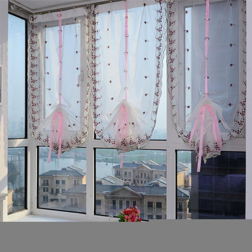 Amazon Com Dzt1968 1pc White Floral Tulle Sheer Chiffon Window