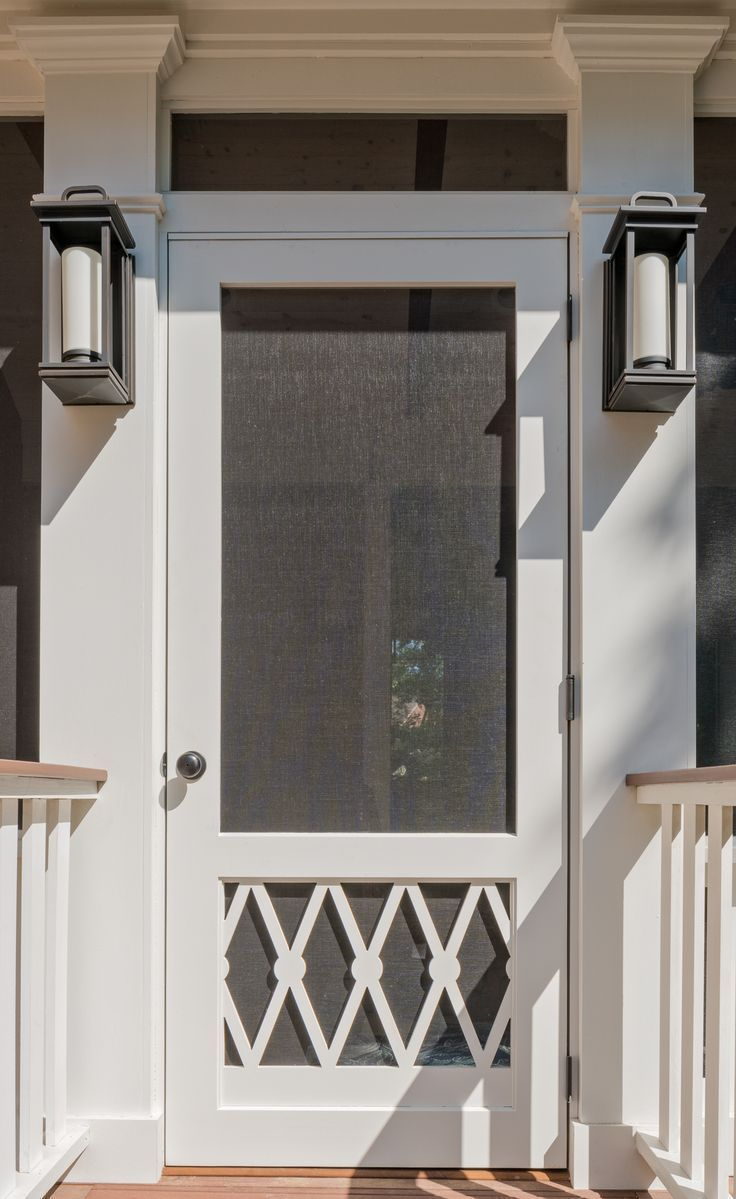 Our doors are custom made to fit your porch. This is our custom cypress screened door made with the Drummer Boy design to match our Drummer Boy PVC Railing panels. How ca-yute!
