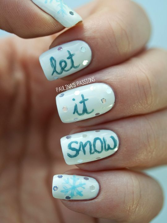 ... winter nail designs. Let it snow, let it snow, let it snow! I'm in  absolute L.O.V.E. with these naisl, they're soo stinkin' cute! :D - Nail Design Ideas For Winter Nails Pinterest Winter Nails