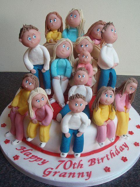 Granny With Grandchildren 70th Birthday Cake Food