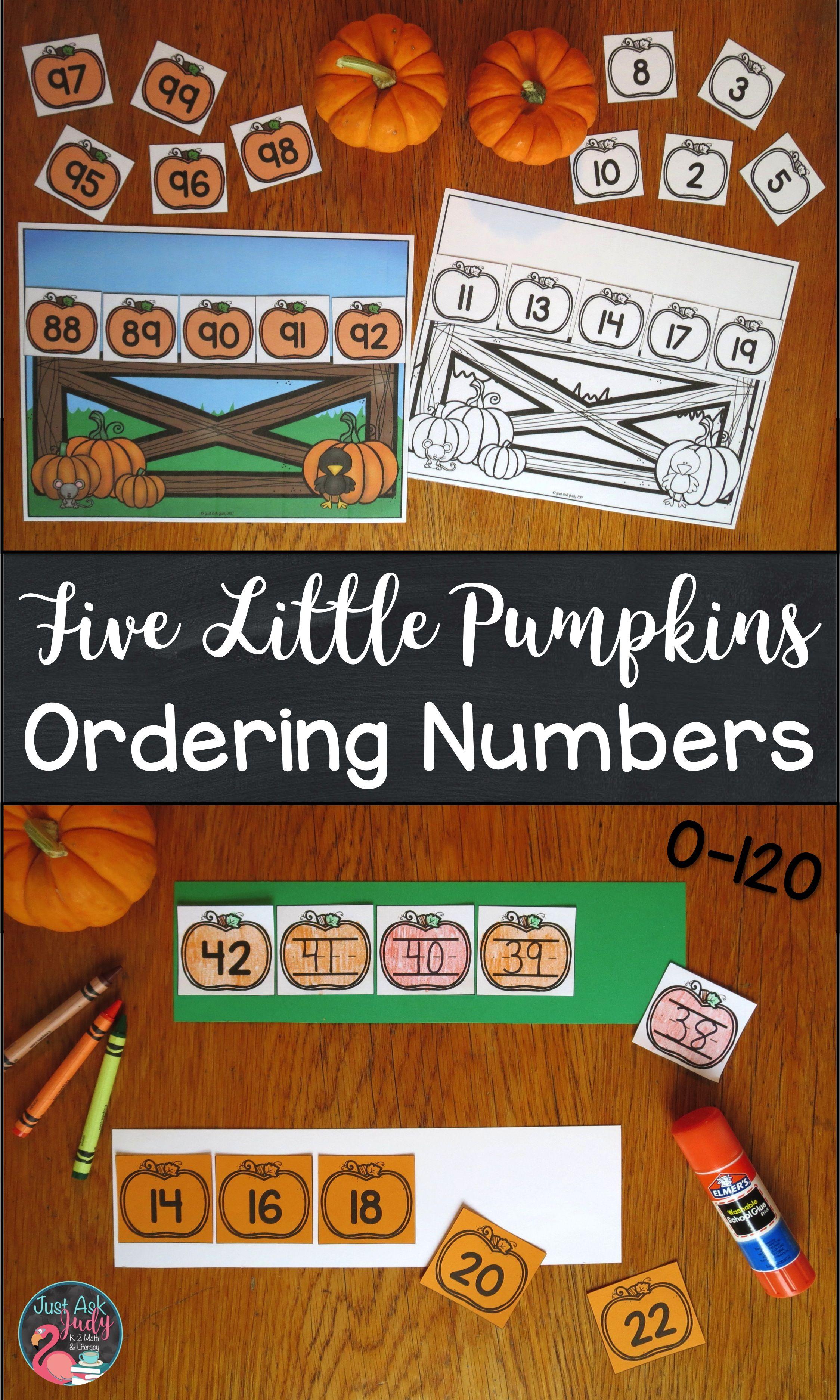 Ordering Numbers 0-120 Five Little Pumpkins | Kindergarten, Math and ...
