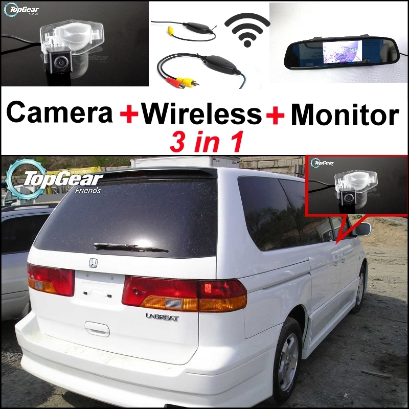 74.44$  Buy now - http://ali5hl.worldwells.pw/go.php?t=32469362274 - 3 in1 Special Camera + Wireless Receiver + Mirror Monitor Easy DIY Back Up Parking System For HONDA Lagreat