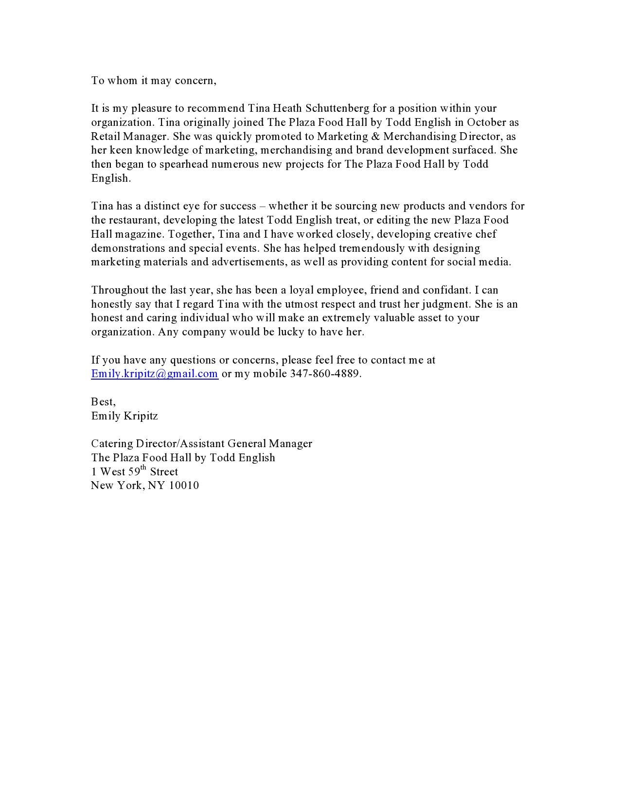 Reference Letter From Emily Former Catering Director At Todd