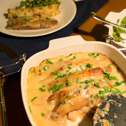 Savory Crepes with Creamy Chicken, Ham and Mushroom Filling |