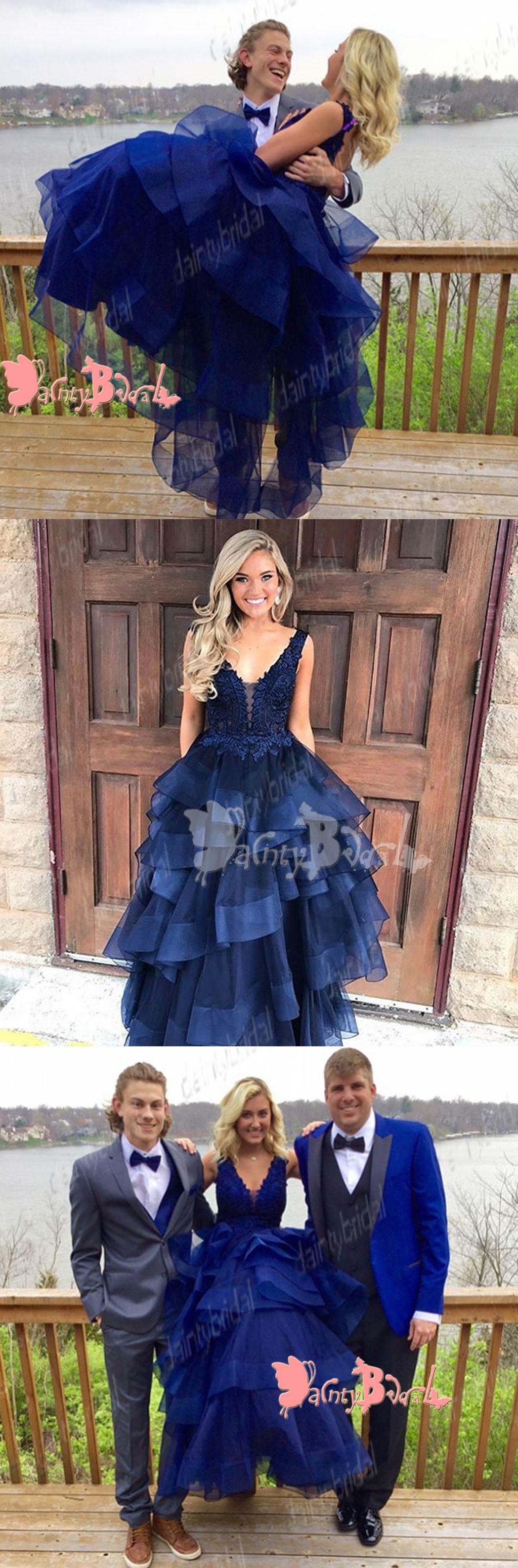 Vintage open back sleeveless royal blue lace organza ruffles ball