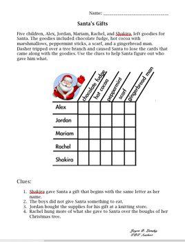 Logic Puzzle for 3rd Grade Christmas | Cheap Ideas for Teachers