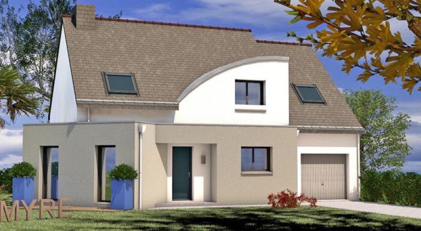 Maison contemporaine 4 chambres avec salon en bow-window et garage