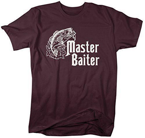 d8351dd3 Shirts By Sarah Men's Funny Fishing T-Shirt Master Baiter Offensive Shirts