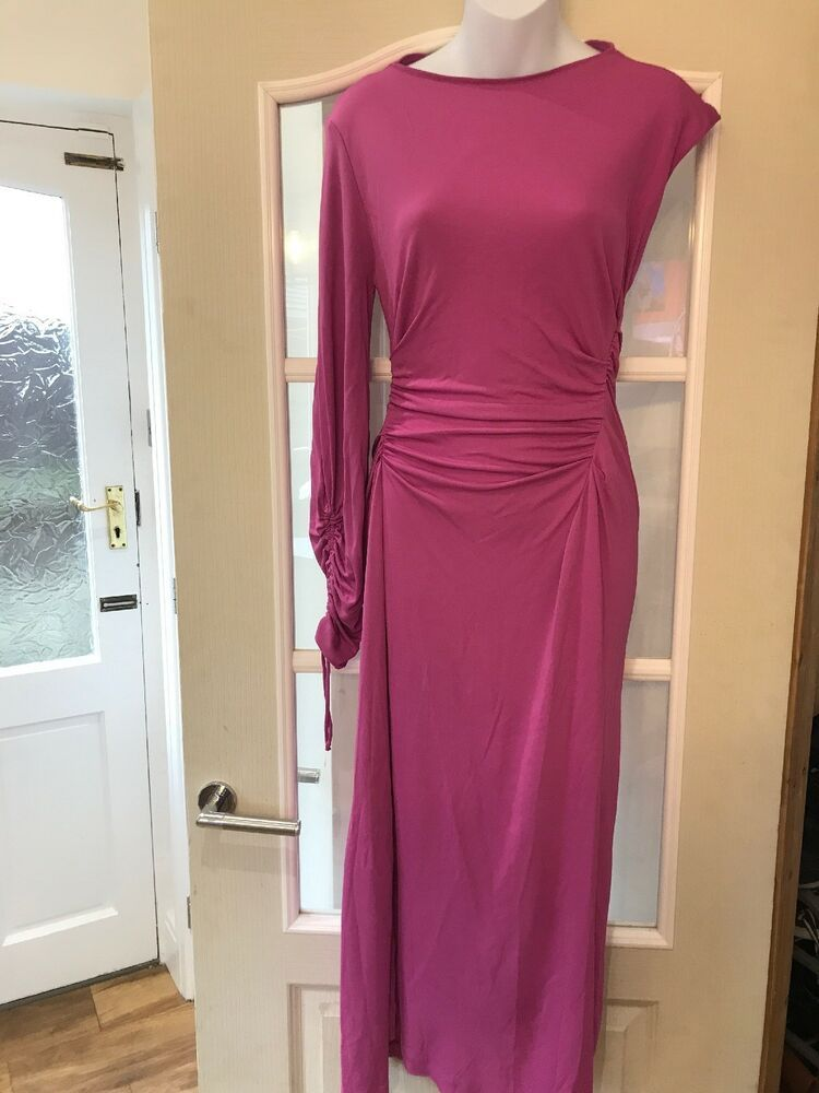 d596d420 Zara Women Pink One Sleeve Ruched Dress Sexy Party Size XS New #Zara  #BodyconDress #Party