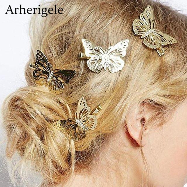 Golden Girls Headdress Butterfly Hair Clips Metal Hairpins Bridal Headpiece