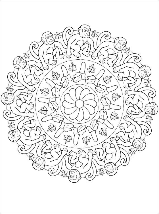 Symmertical Monkey Coloring Book