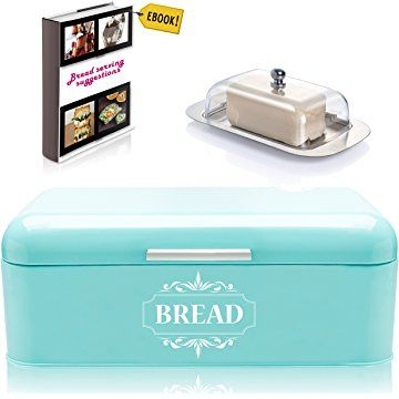 Turquoise Bread Box Vintage Bread Box For Kitchen Stainless Steel Metal In Retro