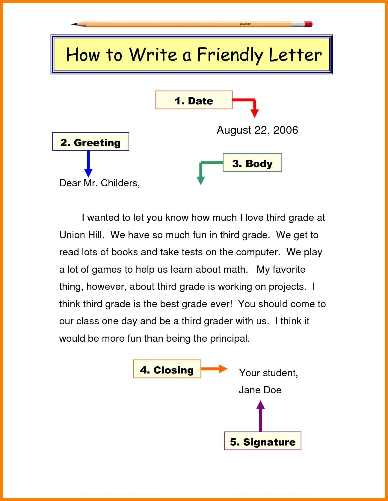 Friendly Letter Format Grade 3 Best Letter Writing Format