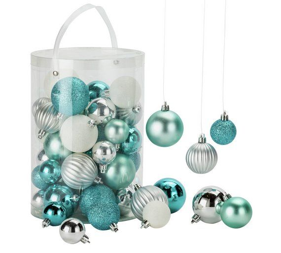 Buy HOME 50 Piece Bauble Pack   Blue, White And Silver At Argos.co