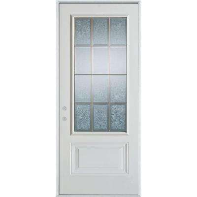 36 In X 80 In Geometric Clear And Brass 3 4 Lite 1 Panel Prefinished White Right Hand Inswing Steel Prehung F Stanley Doors Painted Paneling Elegant Entryway