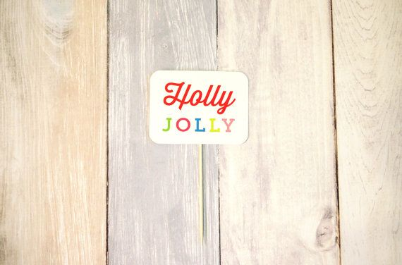 Holly Jolly Cake Topper  Modern Christmas Collection by liddabits
