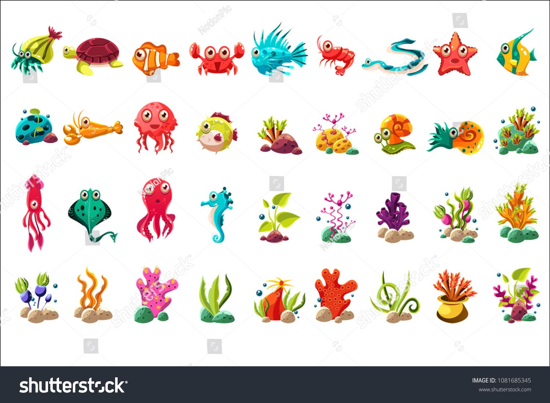 Sea creature big set, colorful cartoon ocean animals