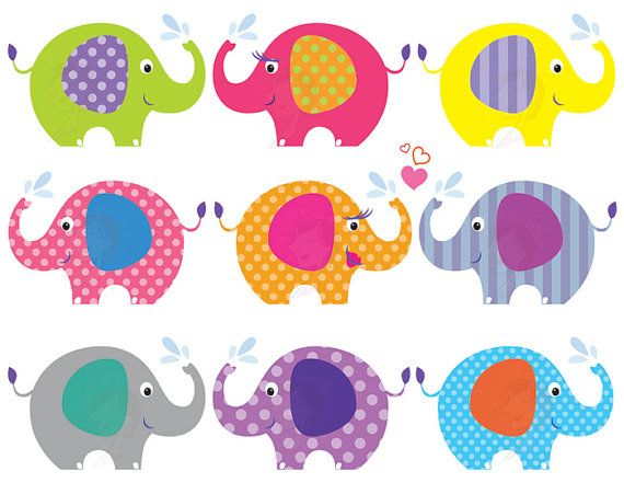 Elephant Clip Art Baby Shower Graphics Animals Clipart Cute Pink
