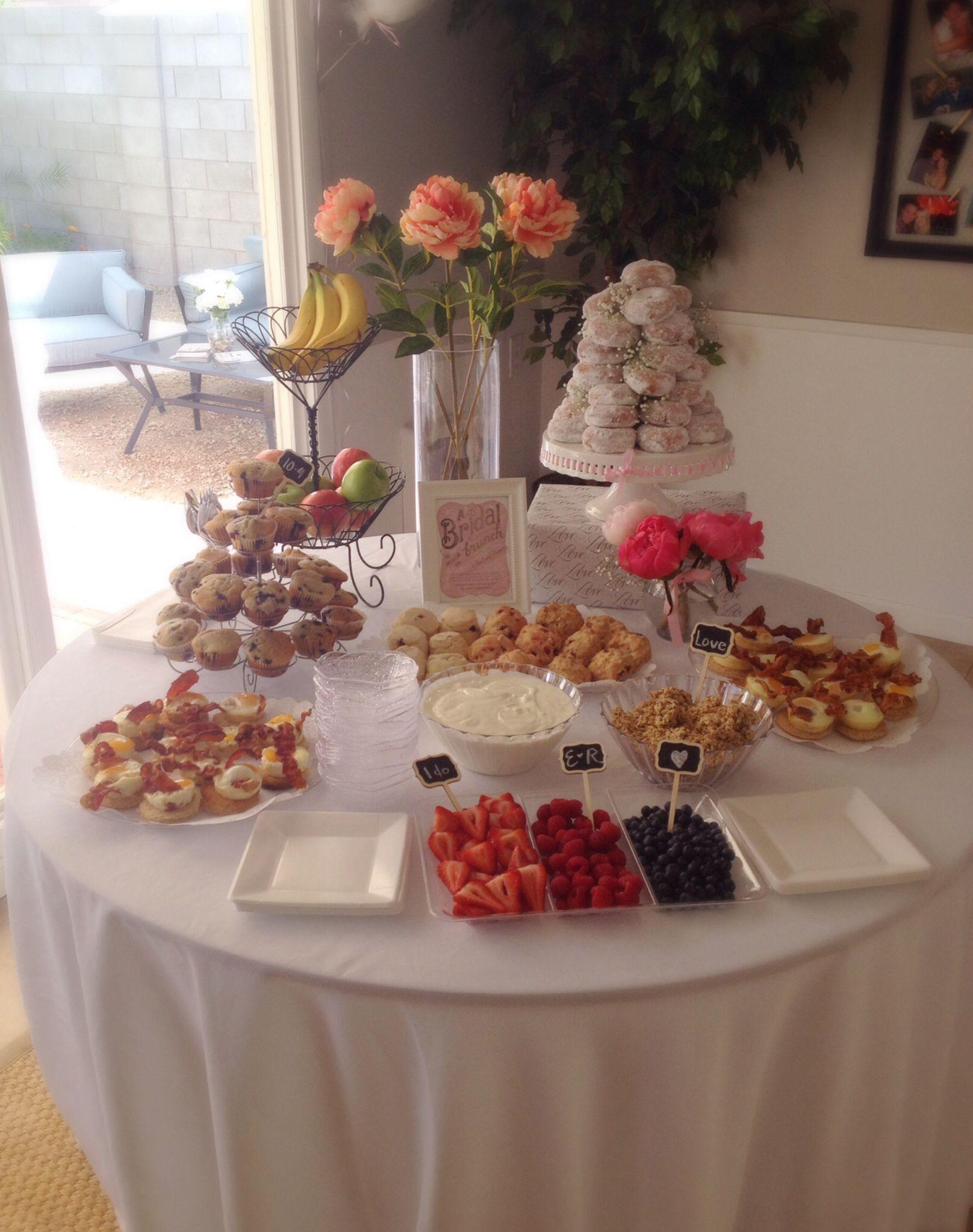 bridal shower brunch food yogurt bar scones muffins and egg sandwiches