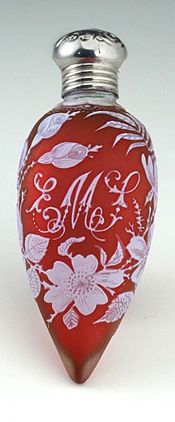 1907 Stourbridge cased cranberry cameo carved glass scent bottle