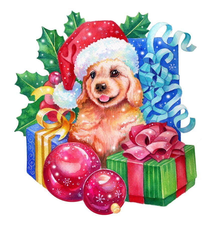 Картинки для новогодних работ, собаки | Рождественское ...