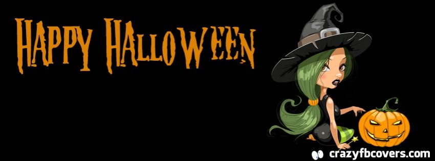 cute witch happy halloween facebook cover facebook timeline cover - Facebook Halloween Cover Photos