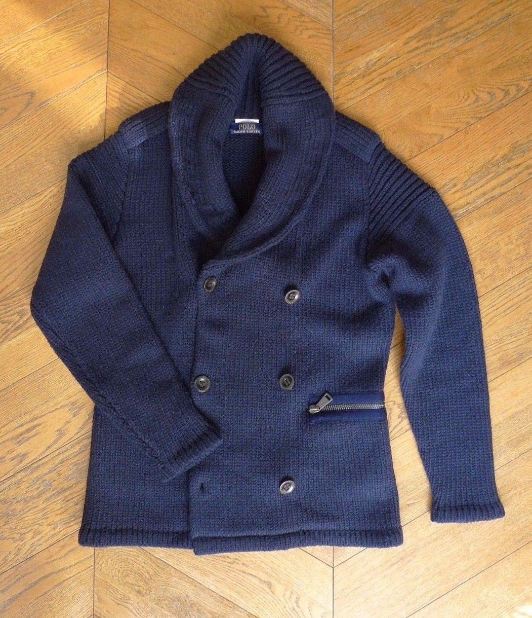 69d99f1ff031b4 Veste cardigan laine merinos - bleu marine - taille m - polo ralph lauren